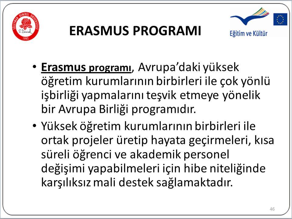 ERASMUS PROGRAMI Erasmus programı, Avrupa'daki yüksek öğretim kurumlarının birbirleri ile çok yönlü işbirliği yapmalarını teşvik etmeye yönelik bir Avrupa Birliği programıdır.