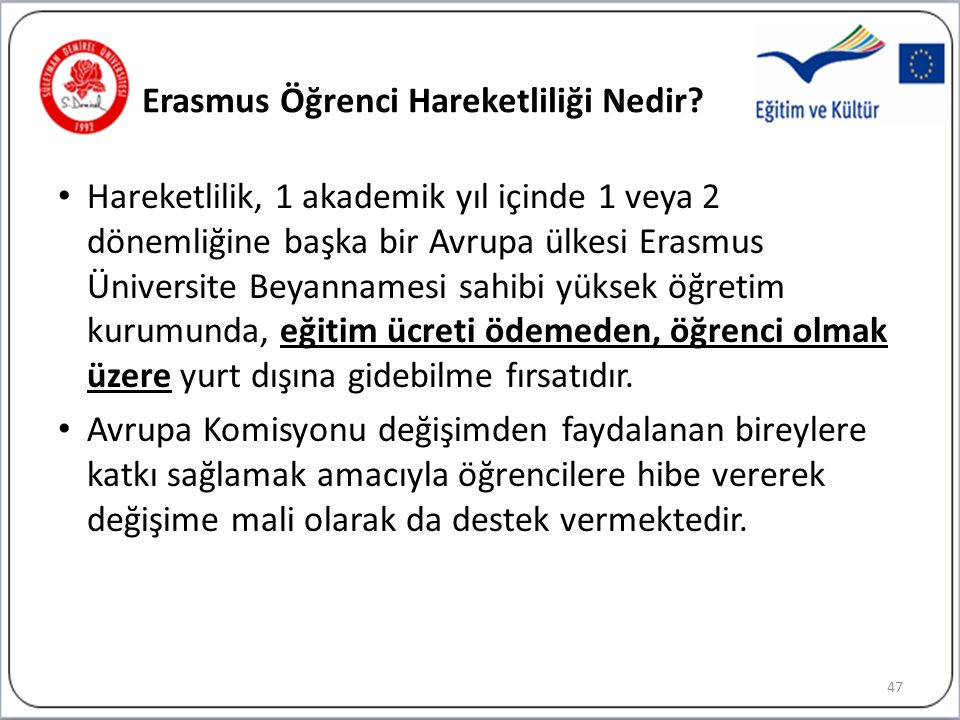 Erasmus Öğrenci Hareketliliği Nedir.