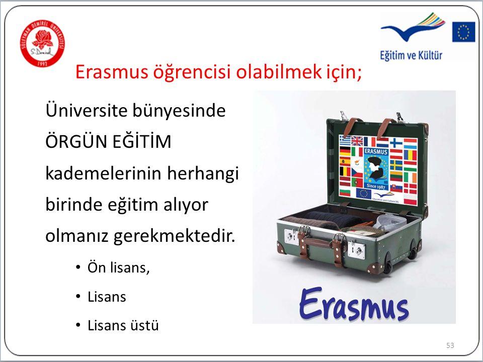 Erasmus öğrencisi olabilmek için; Üniversite bünyesinde ÖRGÜN EĞİTİM kademelerinin herhangi birinde eğitim alıyor olmanız gerekmektedir.