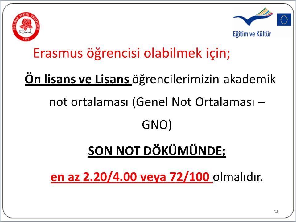 Erasmus öğrencisi olabilmek için; Ön lisans ve Lisans öğrencilerimizin akademik not ortalaması (Genel Not Ortalaması – GNO) SON NOT DÖKÜMÜNDE; en az 2.20/4.00 veya 72/100 olmalıdır.