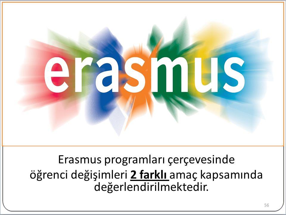 Erasmus programları çerçevesinde öğrenci değişimleri 2 farklı amaç kapsamında değerlendirilmektedir.