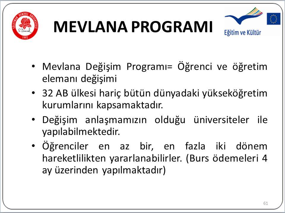 MEVLANA PROGRAMI Mevlana Değişim Programı= Öğrenci ve öğretim elemanı değişimi 32 AB ülkesi hariç bütün dünyadaki yükseköğretim kurumlarını kapsamaktadır.
