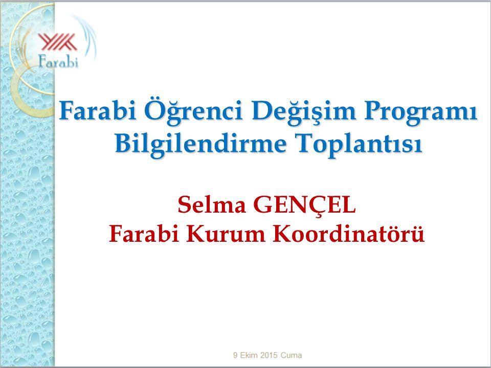 Farabi Öğrenci Değişim Programı Bilgilendirme Toplantısı Selma GENÇEL Farabi Kurum Koordinatörü