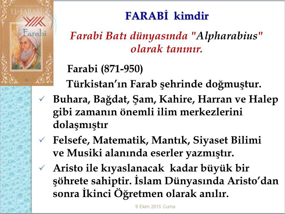 Farabi (871-950) Türkistan'ın Farab şehrinde doğmuştur.