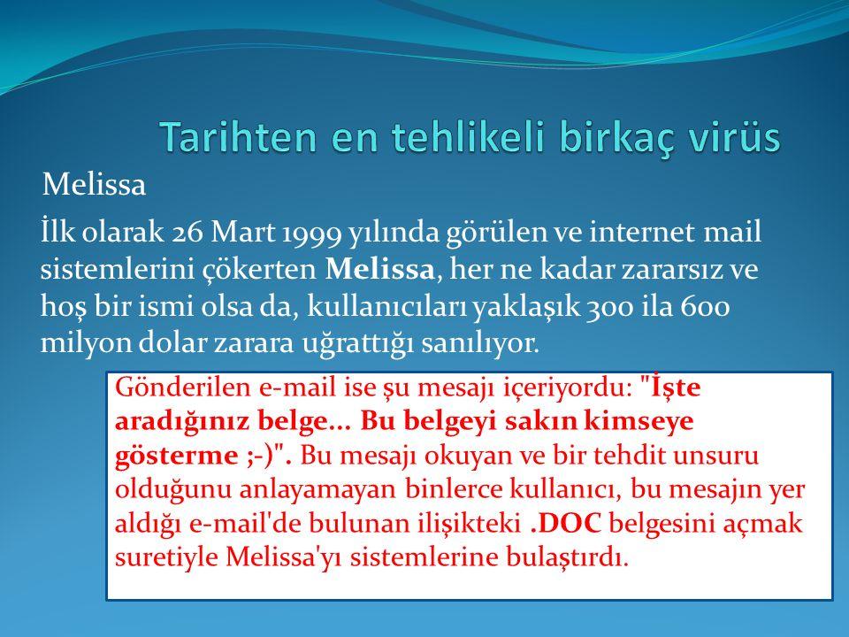 İlk olarak 26 Mart 1999 yılında görülen ve internet mail sistemlerini çökerten Melissa, her ne kadar zararsız ve hoş bir ismi olsa da, kullanıcıları yaklaşık 300 ila 600 milyon dolar zarara uğrattığı sanılıyor.