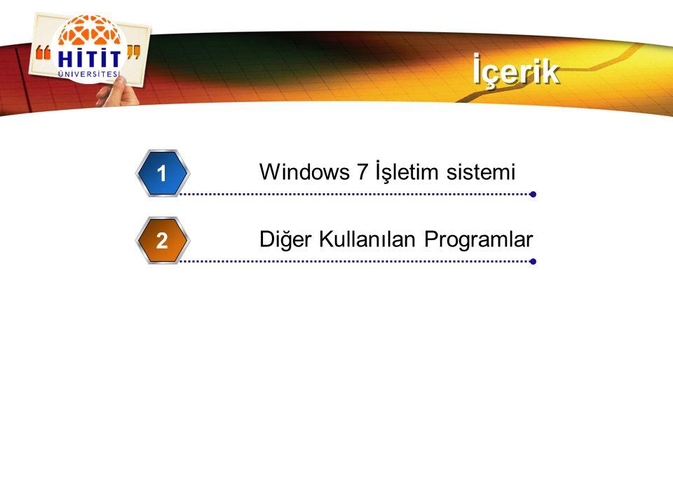 LOGO İçerik Windows 7 İşletim sistemi 1 Diğer Kullanılan Programlar 2
