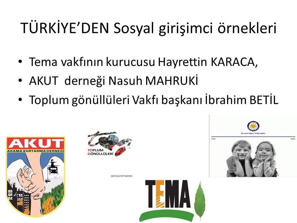 TÜRKİYE'DEN Sosyal girişimci örnekleri Tema vakfının kurucusu Hayrettin KARACA, AKUT derneği Nasuh MAHRUKİ Toplum gönüllüleri Vakfı başkanı İbrahim BE