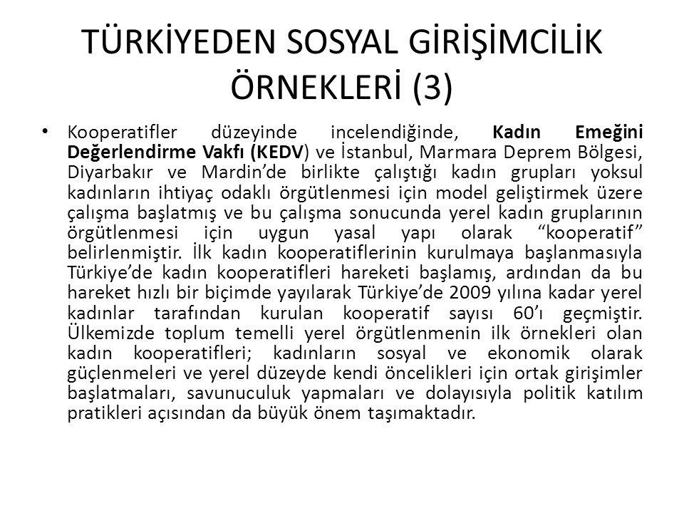 TÜRKİYEDEN SOSYAL GİRİŞİMCİLİK ÖRNEKLERİ (3) Kooperatifler düzeyinde incelendiğinde, Kadın Emeğini Değerlendirme Vakfı (KEDV) ve İstanbul, Marmara Dep