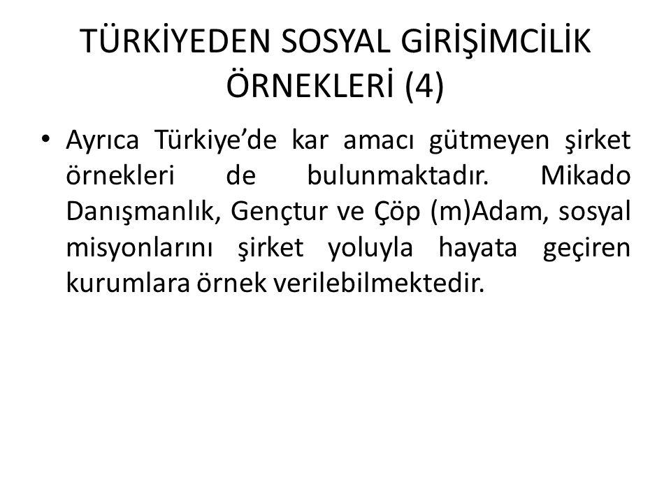 TÜRKİYEDEN SOSYAL GİRİŞİMCİLİK ÖRNEKLERİ (4) Ayrıca Türkiye'de kar amacı gütmeyen şirket örnekleri de bulunmaktadır. Mikado Danışmanlık, Gençtur ve Çö