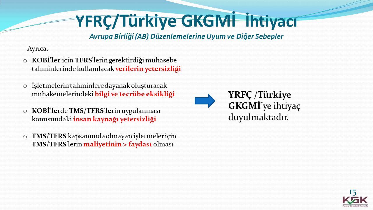 YFRÇ/ Türkiye GKGMİ İhtiyacı Avrupa Birliği (AB) Düzenlemelerine Uyum ve Diğer Sebepler o KOBİ'ler için TFRS'lerin gerektirdiği muhasebe tahminlerinde