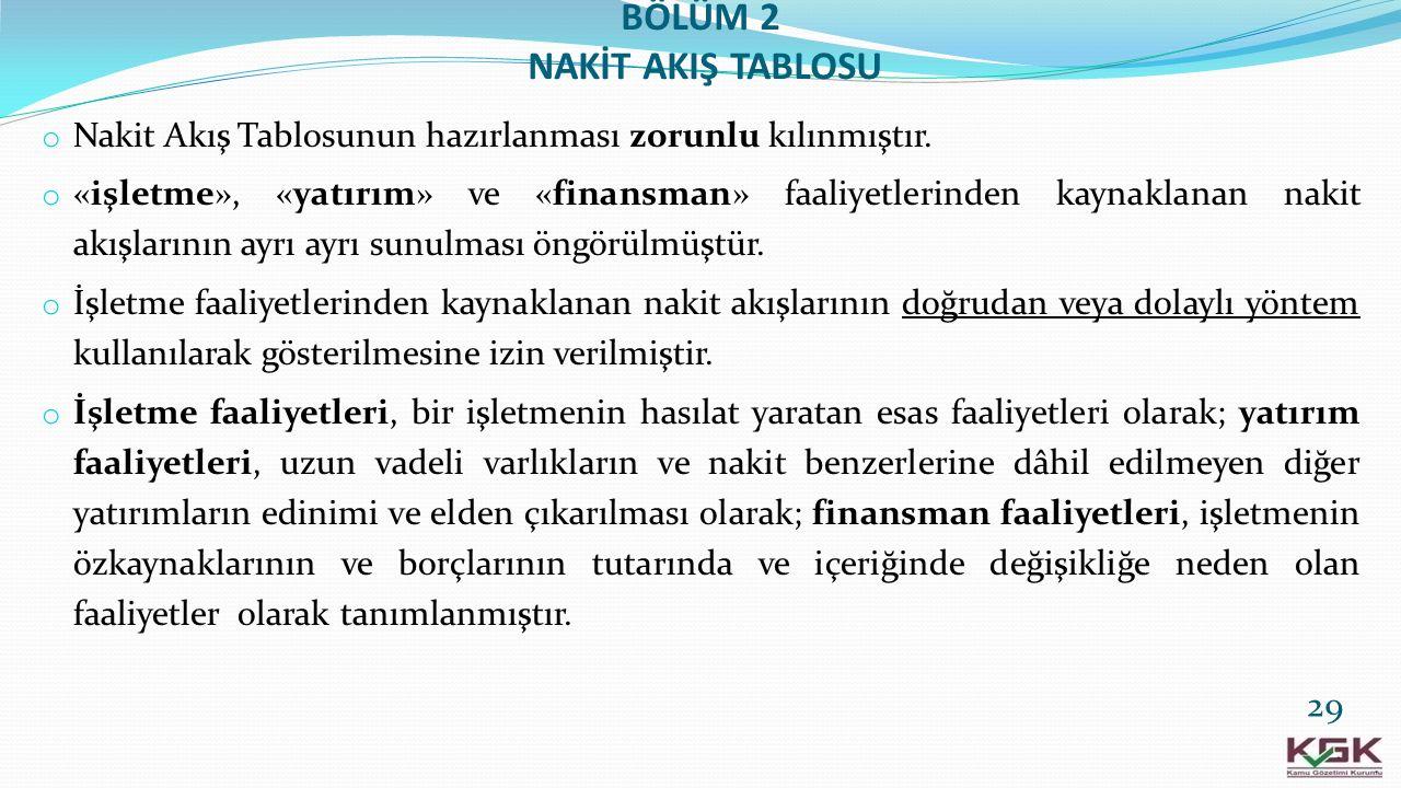 BÖLÜM 2 NAKİT AKIŞ TABLOSU o Nakit Akış Tablosunun hazırlanması zorunlu kılınmıştır. o «işletme», «yatırım» ve «finansman» faaliyetlerinden kaynaklana