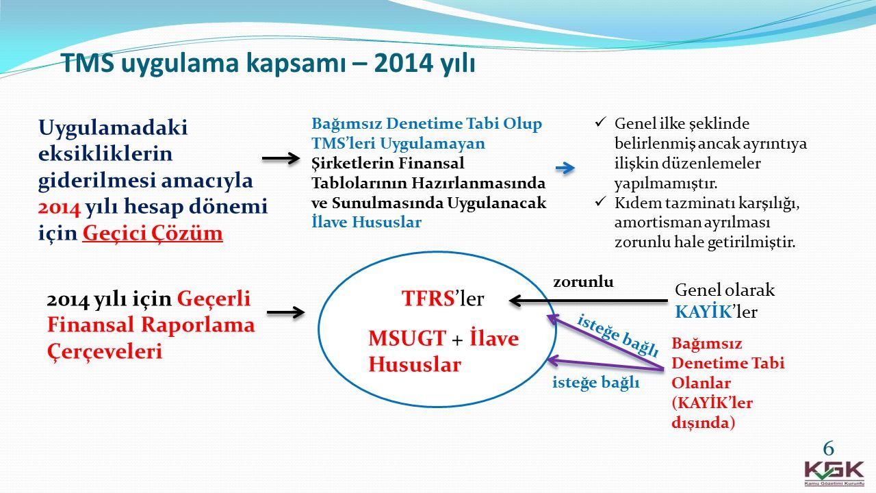 TMS uygulama kapsamı – 2014 yılı 6 Uygulamadaki eksikliklerin giderilmesi amacıyla 2014 yılı hesap dönemi için Geçici Çözüm Bağımsız Denetime Tabi Olu