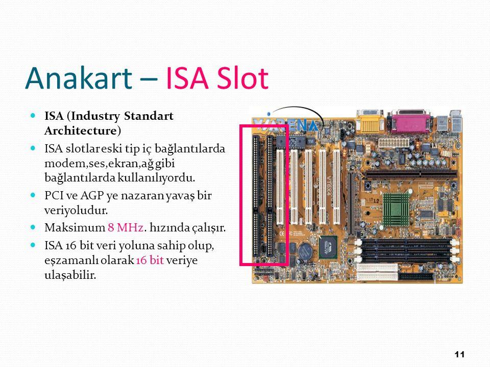Anakart – ISA Slot ISA (Industry Standart Architecture) ISA slotlar eski tip iç bağlantılarda modem,ses,ekran,ağ gibi bağlantılarda kullanılıyordu. PC