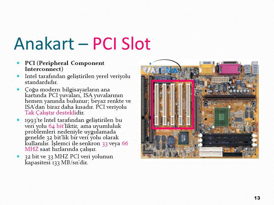 Anakart – PCI Slot PCI (Peripheral Component Interconnect) Intel tarafından geliştirilen yerel veriyolu standardıdır. Çoğu modern bilgisayarların ana