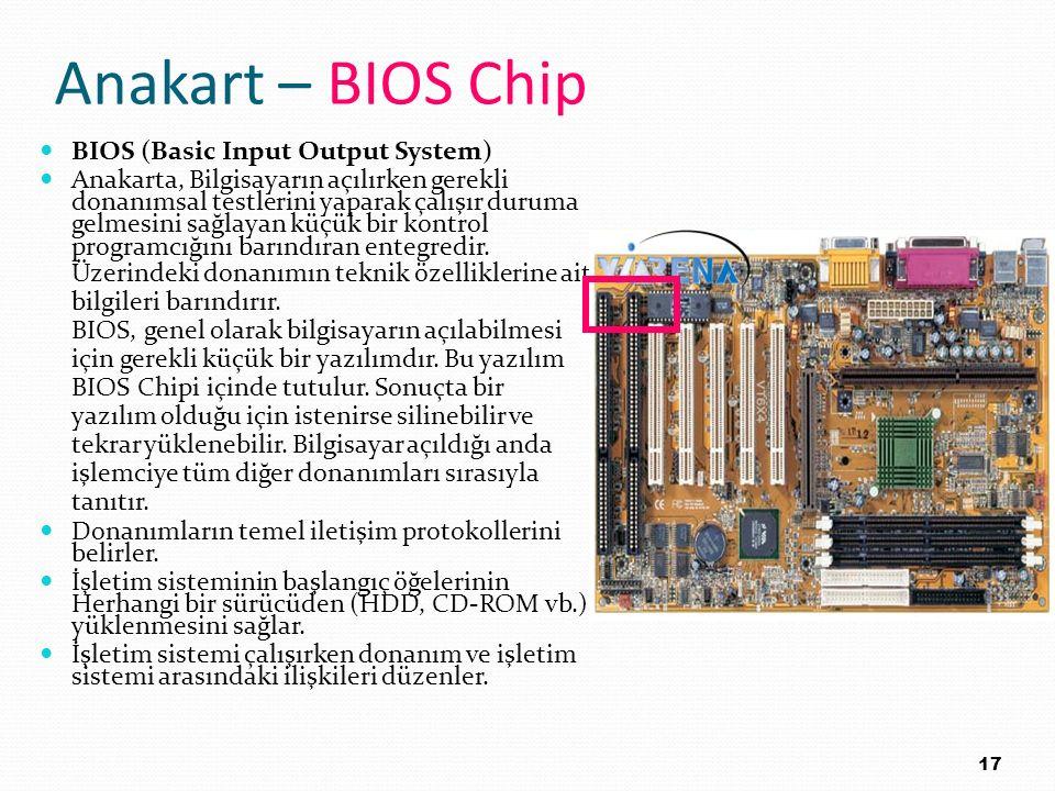Anakart – BIOS Chip BIOS (Basic Input Output System) Anakarta, Bilgisayarın açılırken gerekli donanımsal testlerini yaparak çalışır duruma gelmesini s