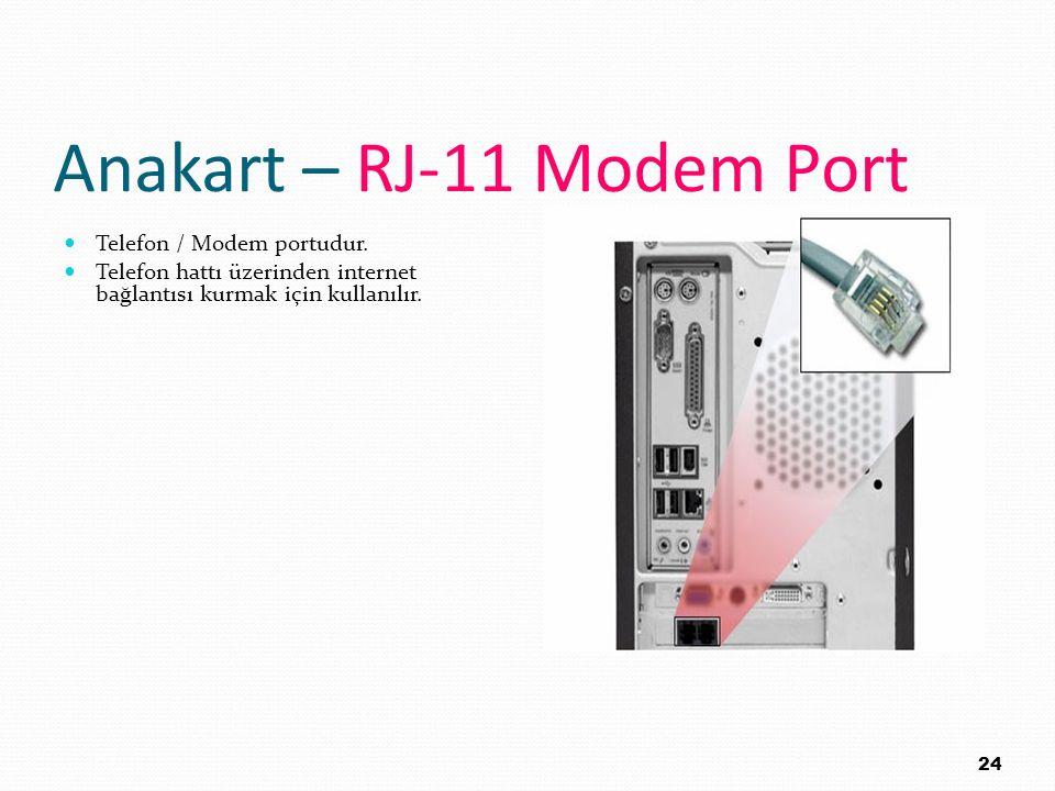 Anakart – RJ-11 Modem Port Telefon / Modem portudur. Telefon hattı üzerinden internet bağlantısı kurmak için kullanılır. 24