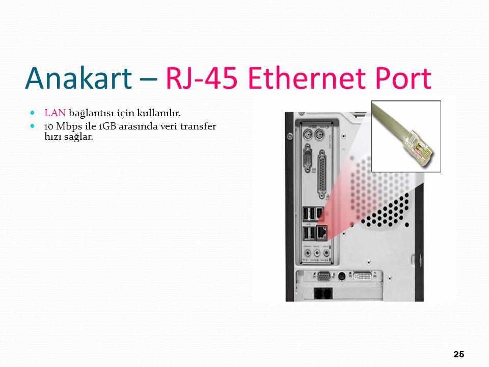 Anakart – RJ-45 Ethernet Port LAN bağlantısı için kullanılır. 10 Mbps ile 1GB arasında veri transfer hızı sağlar. 25