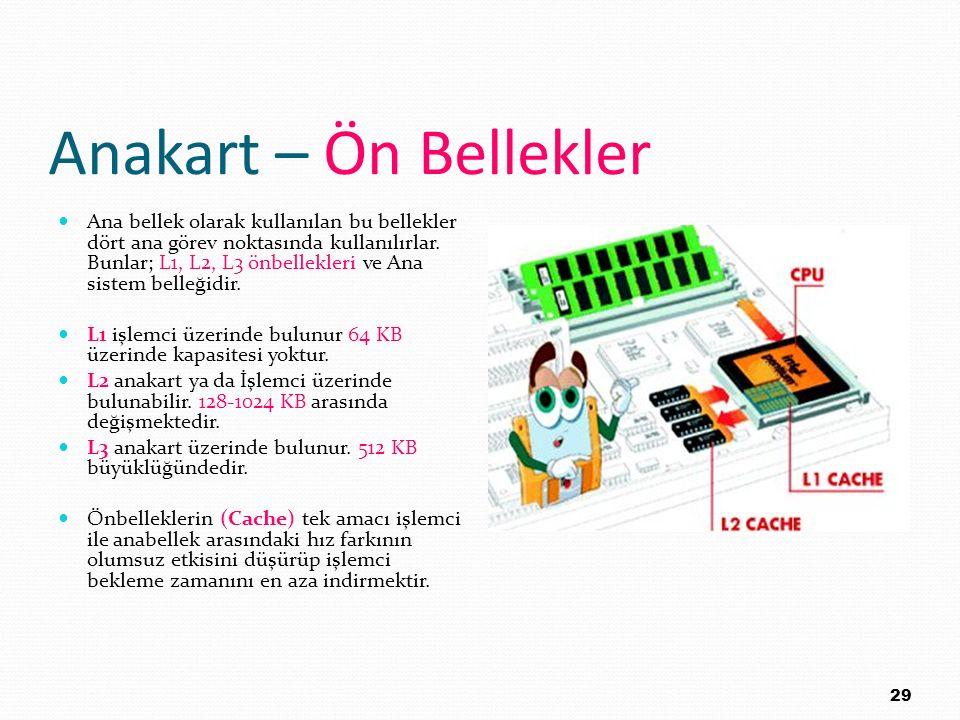 Anakart – Ön Bellekler Ana bellek olarak kullanılan bu bellekler dört ana görev noktasında kullanılırlar. Bunlar; L1, L2, L3 önbellekleri ve Ana siste