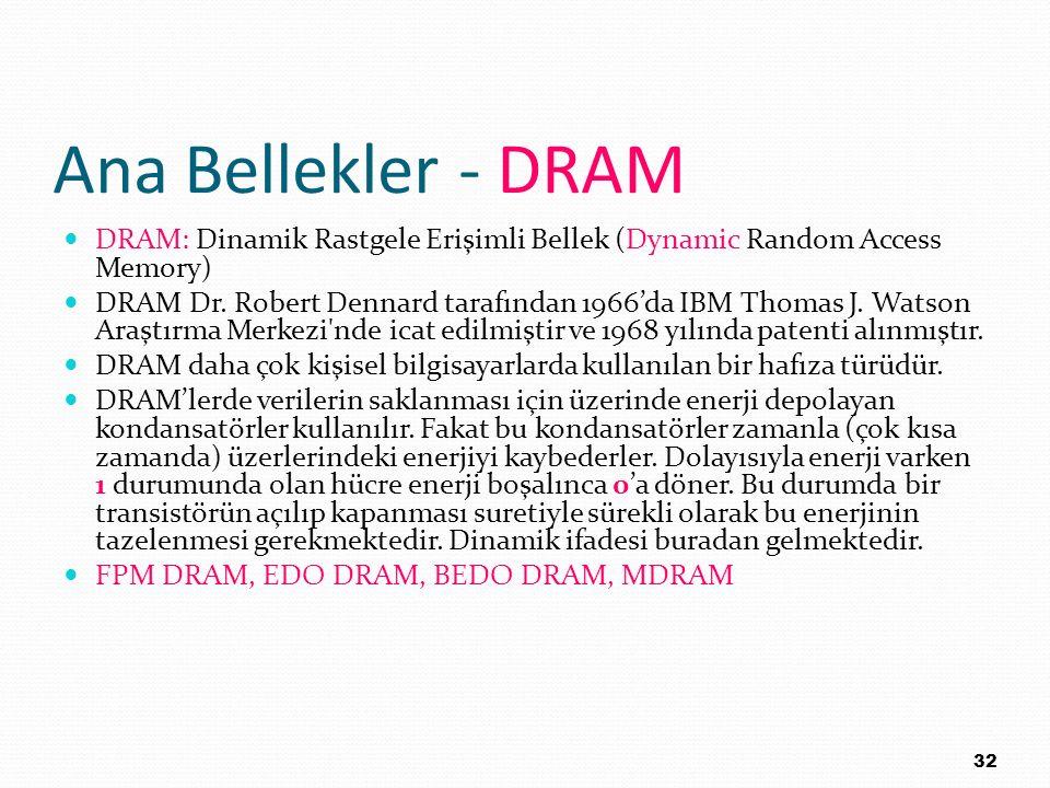 Ana Bellekler - DRAM DRAM: Dinamik Rastgele Erişimli Bellek (Dynamic Random Access Memory) DRAM Dr. Robert Dennard tarafından 1966'da IBM Thomas J. Wa