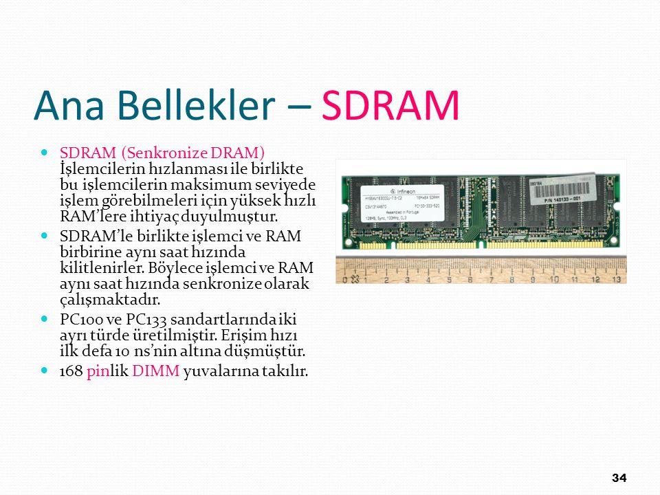 Ana Bellekler – SDRAM SDRAM (Senkronize DRAM) İşlemcilerin hızlanması ile birlikte bu işlemcilerin maksimum seviyede işlem görebilmeleri için yüksek h