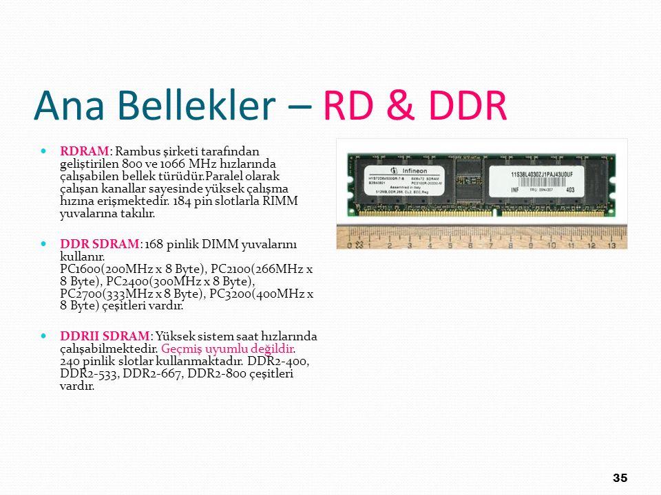 Ana Bellekler – RD & DDR RDRAM: Rambus şirketi tarafından geliştirilen 800 ve 1066 MHz hızlarında çalışabilen bellek türüdür.Paralel olarak çalışan ka