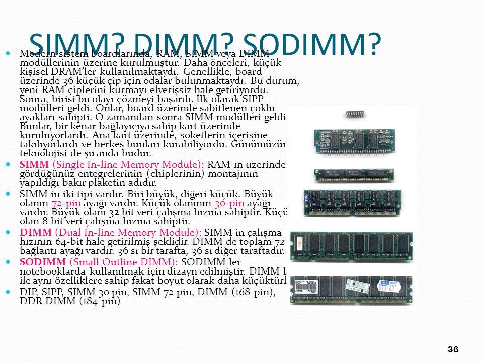 SIMM? DIMM? SODIMM? Modern sistem boardlarında, RAM, SIMM veya DIMM modüllerinin üzerine kurulmuştur. Daha önceleri, küçük kişisel DRAM'ler kullanılma