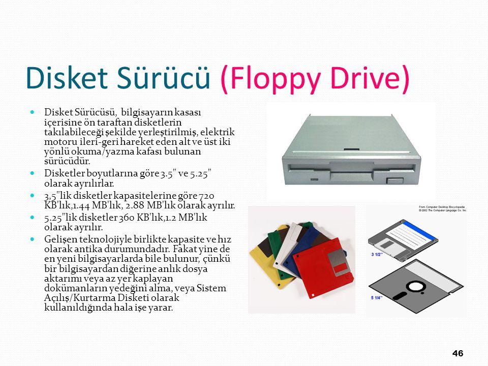 Disket Sürücü (Floppy Drive) Disket Sürücüsü, bilgisayarın kasası içerisine ön taraftan disketlerin takılabileceği şekilde yerleştirilmiş, elektrik mo