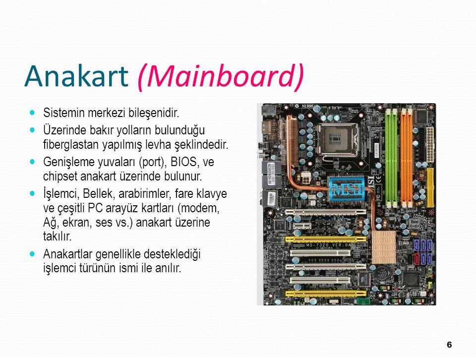 Anakart (Mainboard) Sistemin merkezi bileşenidir. Üzerinde bakır yolların bulunduğu fiberglastan yapılmış levha şeklindedir. Genişleme yuvaları (port)