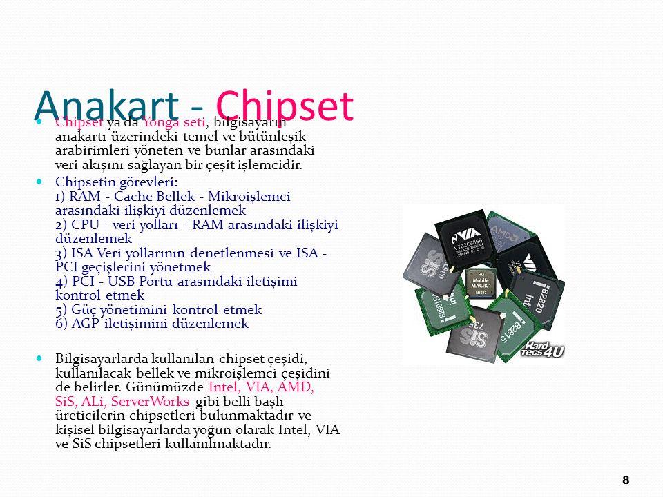 Anakart - Chipset Chipset ya da Yonga seti, bilgisayarın anakartı üzerindeki temel ve bütünleşik arabirimleri yöneten ve bunlar arasındaki veri akışın