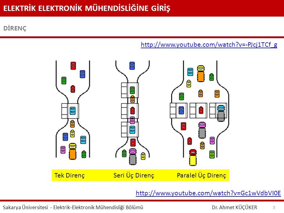 ELEKTRİK ELEKTRONİK MÜHENDİSLİĞİNE GİRİŞ DİRENÇ Dr. Ahmet KÜÇÜKER Sakarya Üniversitesi - Elektrik-Elektronik Mühendisliği Bölümü 3 Tek Direnç Seri Üç
