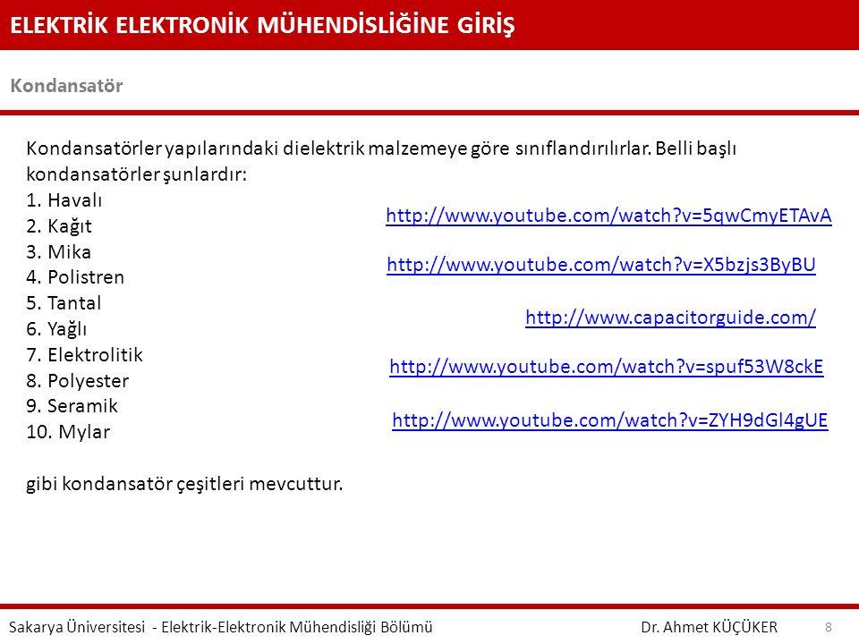 ELEKTRİK ELEKTRONİK MÜHENDİSLİĞİNE GİRİŞ Kondansatör Dr. Ahmet KÜÇÜKER Sakarya Üniversitesi - Elektrik-Elektronik Mühendisliği Bölümü 8 http://www.you