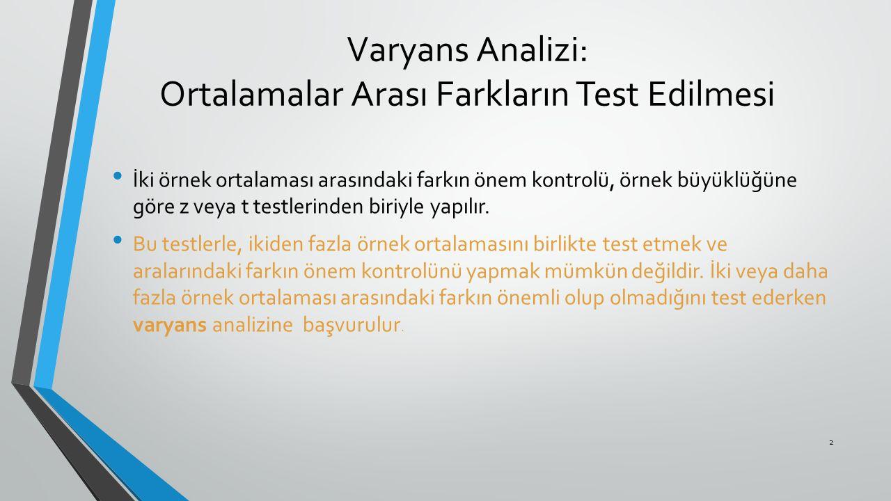 Varyans Analizi: Ortalamalar Arası Farkların Test Edilmesi İki örnek ortalaması arasındaki farkın önem kontrolü, örnek büyüklüğüne göre z veya t testl