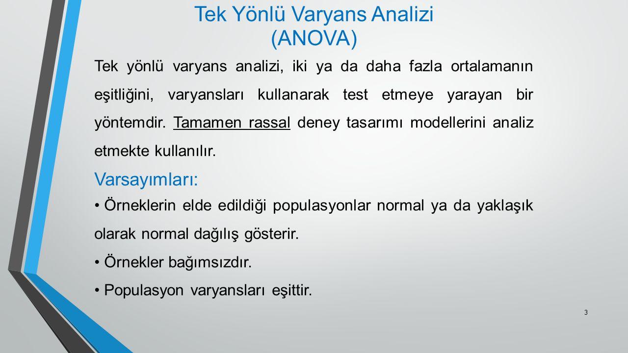 Tek Yönlü Varyans Analizi (ANOVA) Tek yönlü varyans analizi, iki ya da daha fazla ortalamanın eşitliğini, varyansları kullanarak test etmeye yarayan b