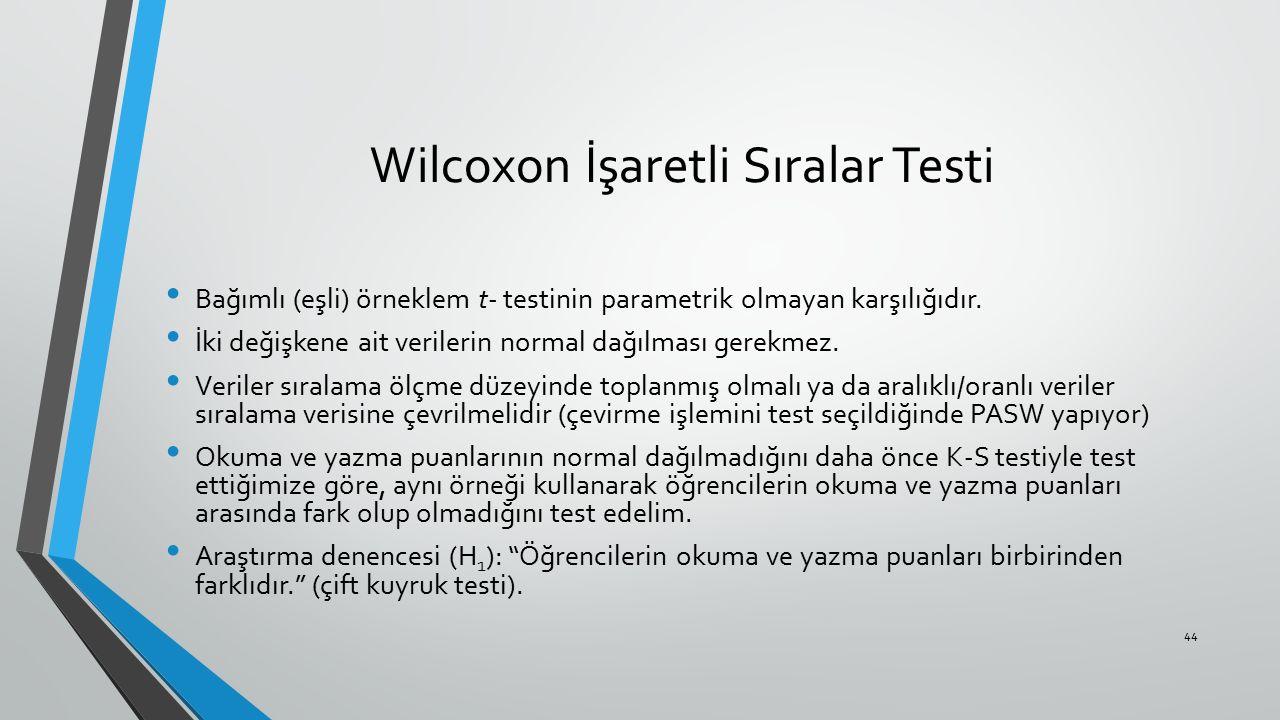 Wilcoxon İşaretli Sıralar Testi Bağımlı (eşli) örneklem t- testinin parametrik olmayan karşılığıdır. İki değişkene ait verilerin normal dağılması gere