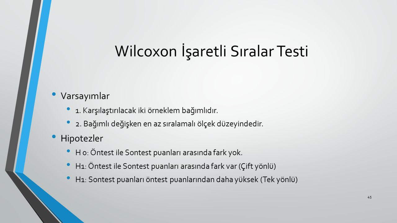 Wilcoxon İşaretli Sıralar Testi Varsayımlar 1. Karşılaştırılacak iki örneklem bağımlıdır. 2. Bağımlı değişken en az sıralamalı ölçek düzeyindedir. Hip