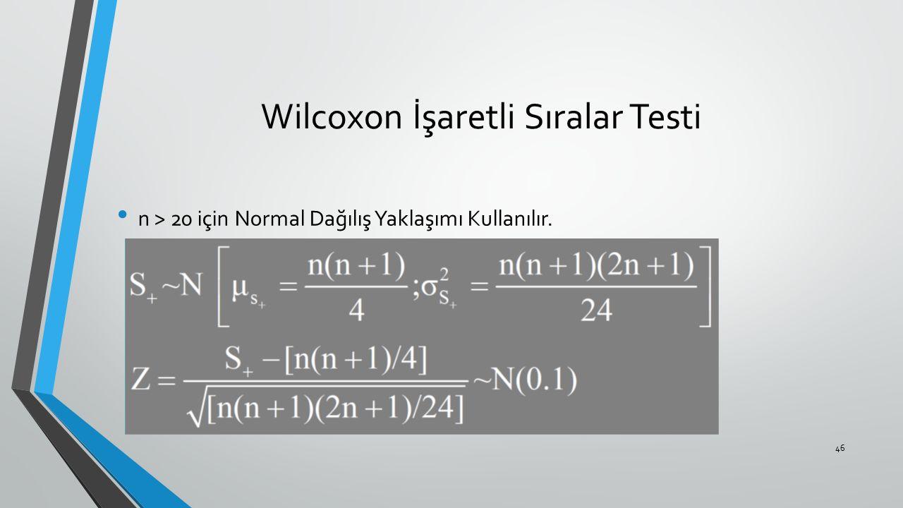 Wilcoxon İşaretli Sıralar Testi n > 20 için Normal Dağılış Yaklaşımı Kullanılır. 46