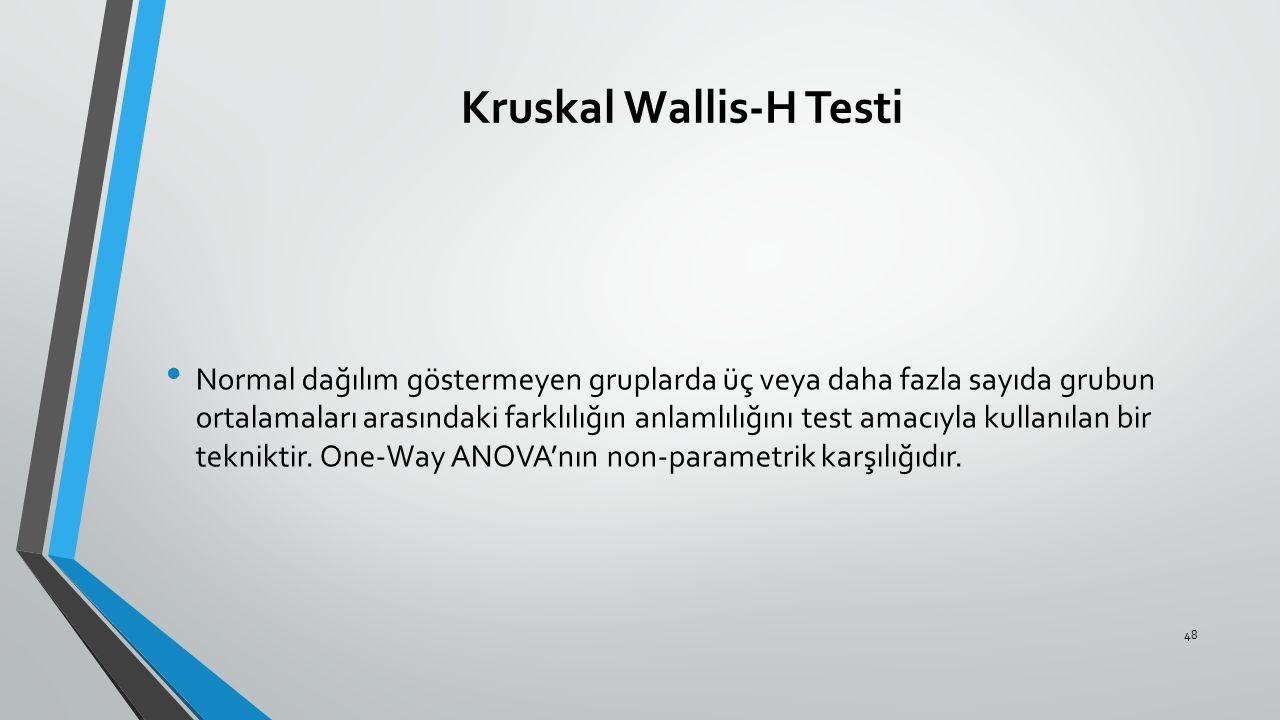 Kruskal Wallis-H Testi Normal dağılım göstermeyen gruplarda üç veya daha fazla sayıda grubun ortalamaları arasındaki farklılığın anlamlılığını test am