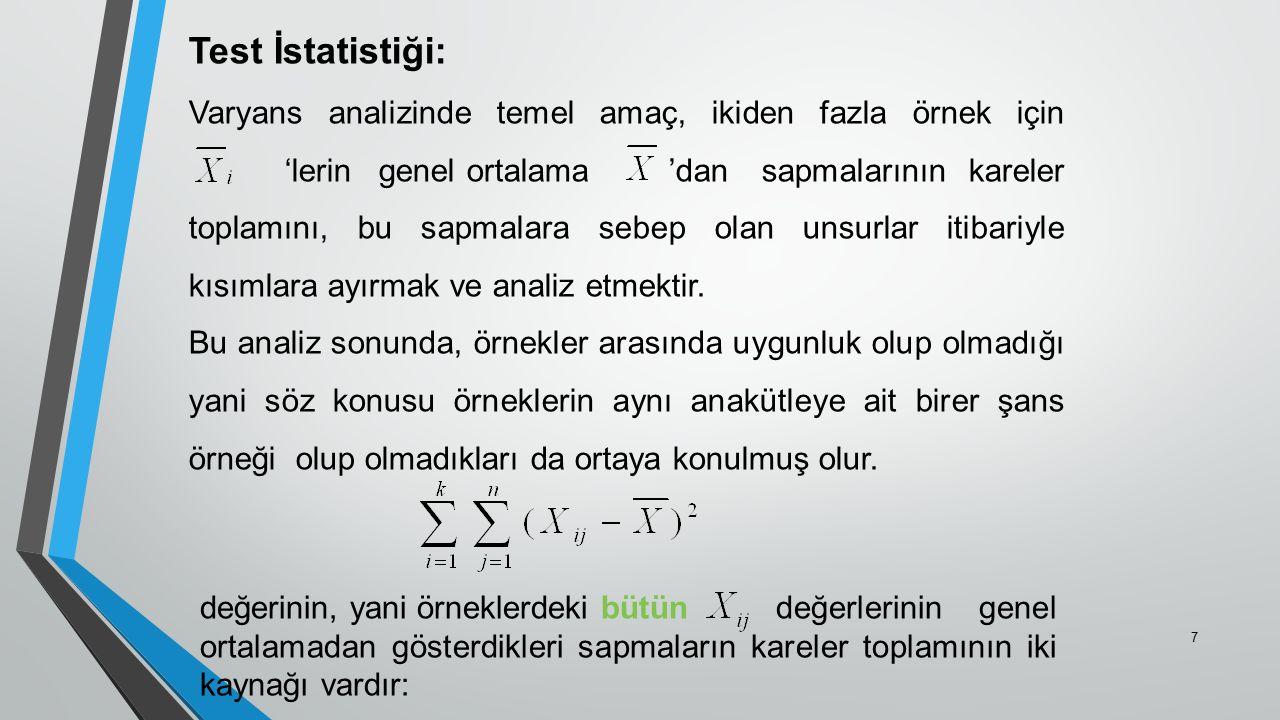 Test İstatistiği: Varyans analizinde temel amaç, ikiden fazla örnek için 'lerin genel ortalama'dan sapmalarının kareler toplamını, bu sapmalara sebep