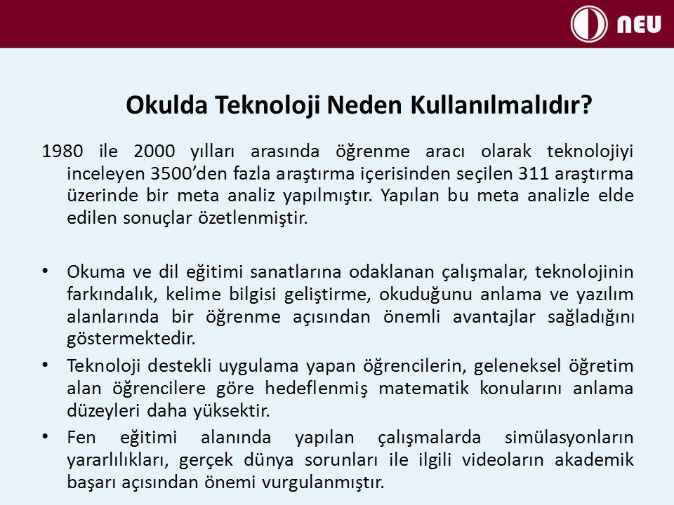 1980 ile 2000 yılları arasında öğrenme aracı olarak teknolojiyi inceleyen 3500'den fazla araştırma içerisinden seçilen 311 araştırma üzerinde bir meta analiz yapılmıştır.