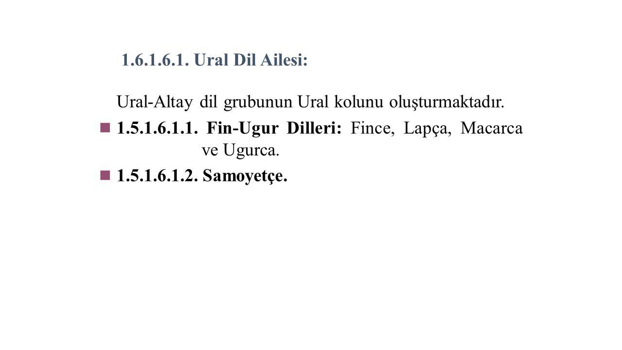 1.6.1.6.1. Ural Dil Ailesi: Ural-Altay dil grubunun Ural kolunu oluşturmaktadır.