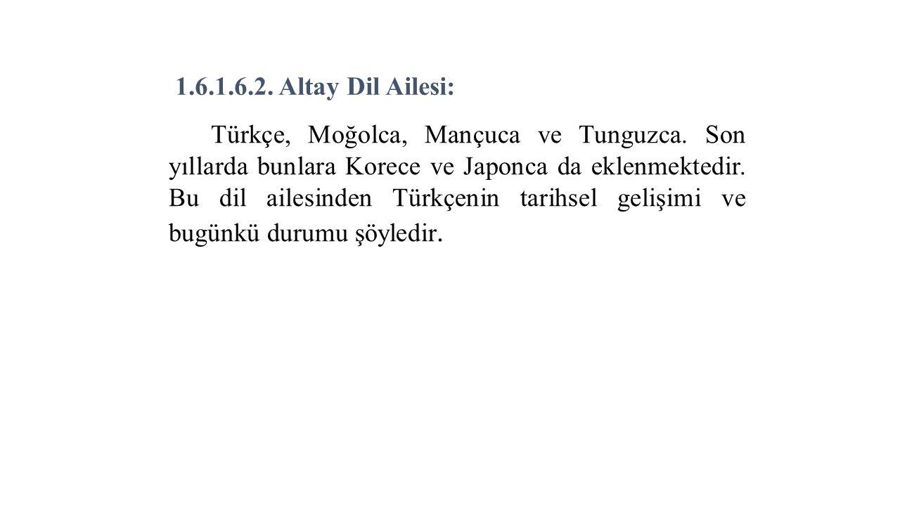1.6.1.6.2. Altay Dil Ailesi: Türkçe, Moğolca, Mançuca ve Tunguzca.
