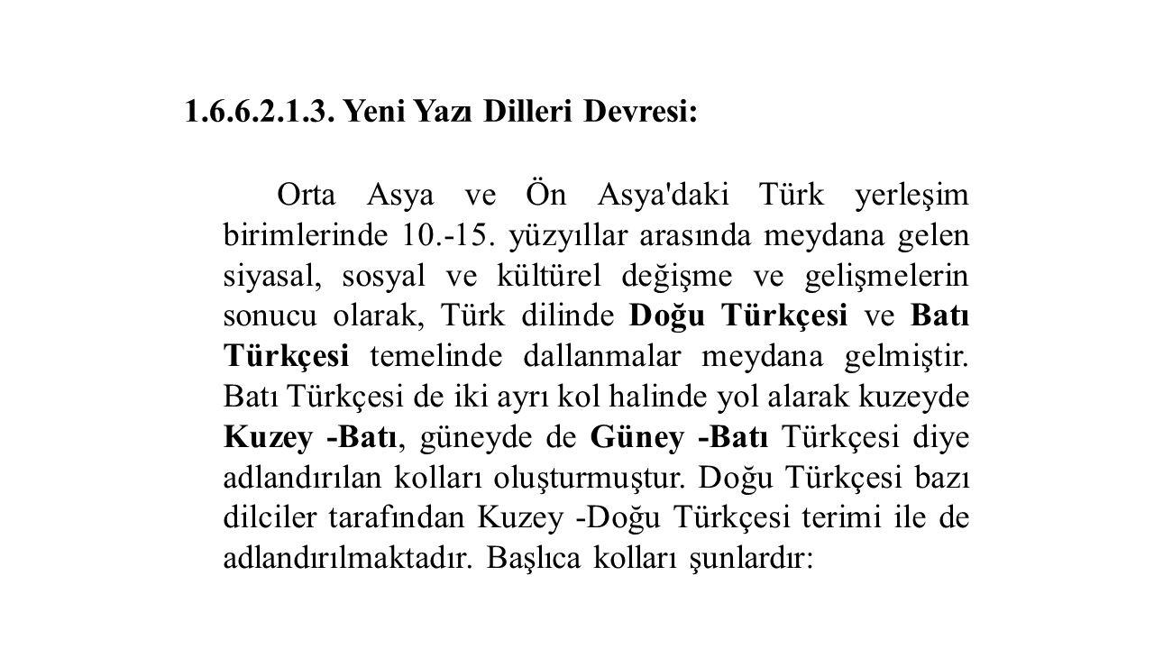 1.6.6.2.1.3. Yeni Yazı Dilleri Devresi: Orta Asya ve Ön Asya'daki Türk yerleşim birimlerinde 10.-15. yüzyıllar arasında meydana gelen siyasal, sosyal