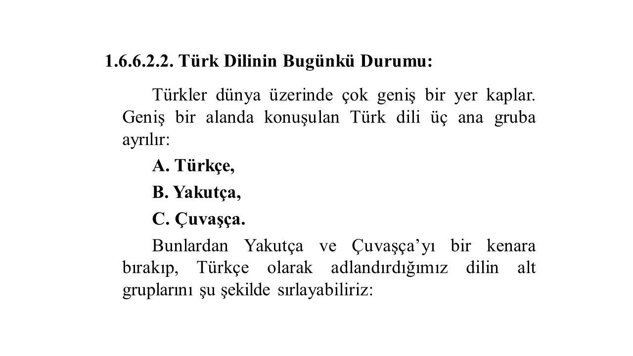 1.6.6.2.2. Türk Dilinin Bugünkü Durumu: Türkler dünya üzerinde çok geniş bir yer kaplar.