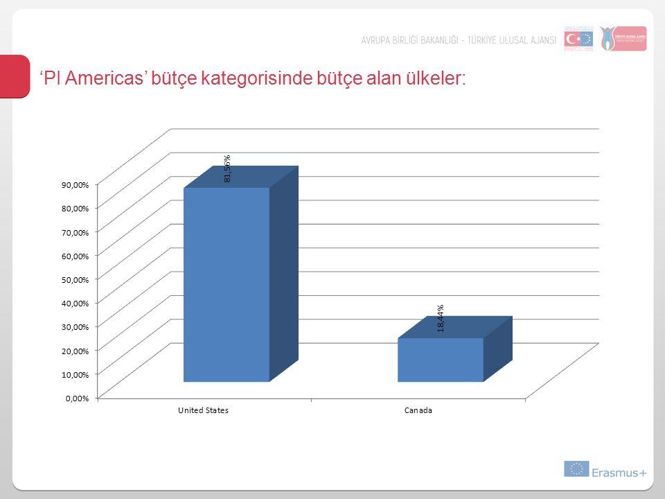 'PI Americas' bütçe kategorisinde bütçe alan ülkeler: