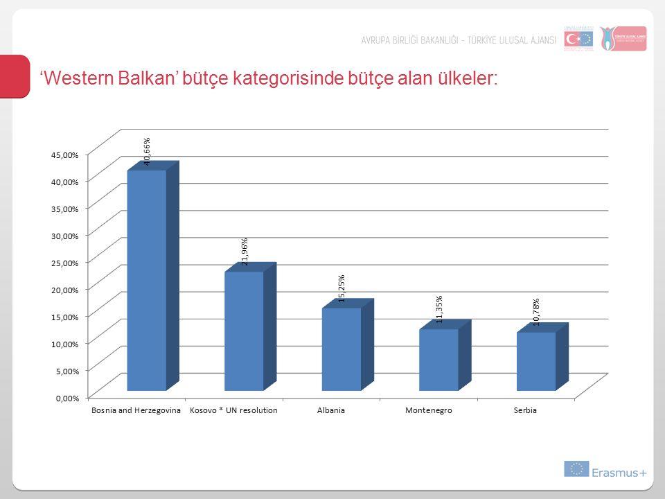 'Western Balkan' bütçe kategorisinde bütçe alan ülkeler: