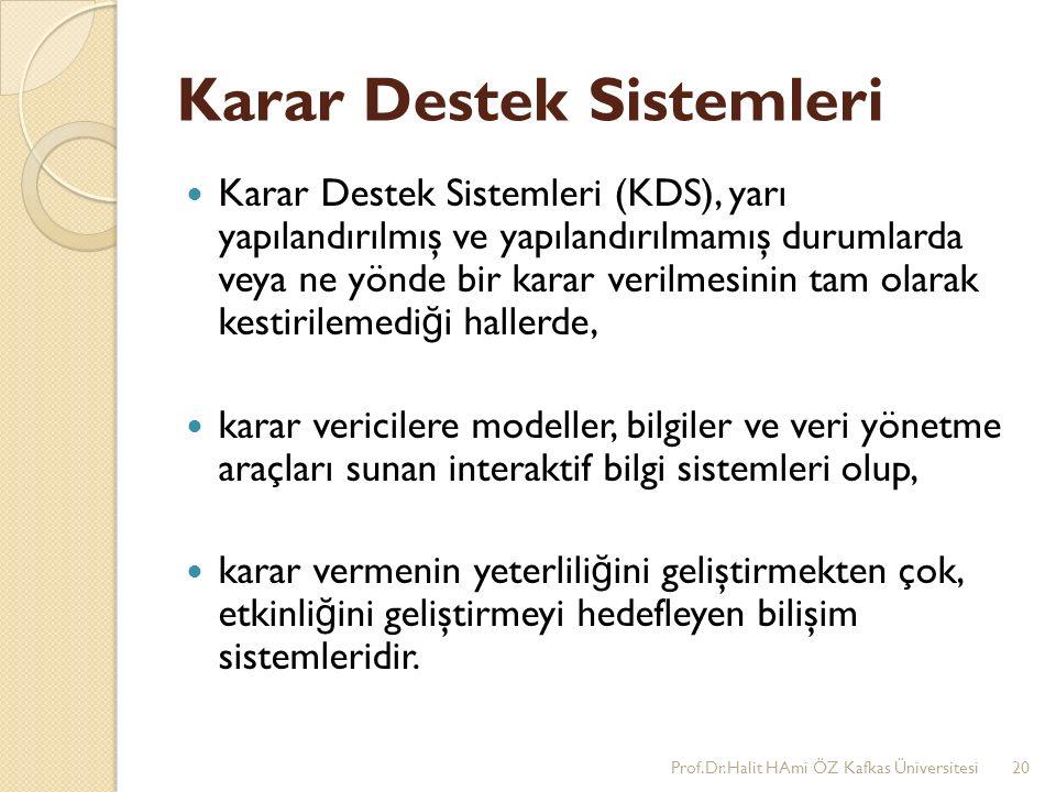 Karar Destek Sistemleri Karar Destek Sistemleri (KDS), yarı yapılandırılmış ve yapılandırılmamış durumlarda veya ne yönde bir karar verilmesinin tam o