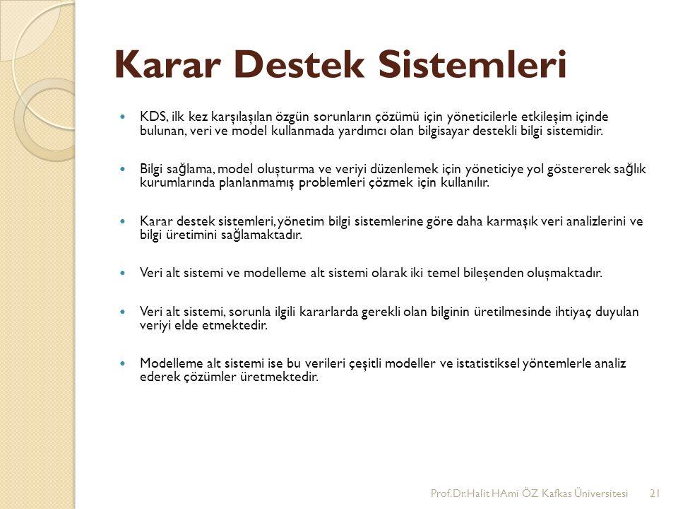 Karar Destek Sistemleri KDS, ilk kez karşılaşılan özgün sorunların çözümü için yöneticilerle etkileşim içinde bulunan, veri ve model kullanmada yardımcı olan bilgisayar destekli bilgi sistemidir.