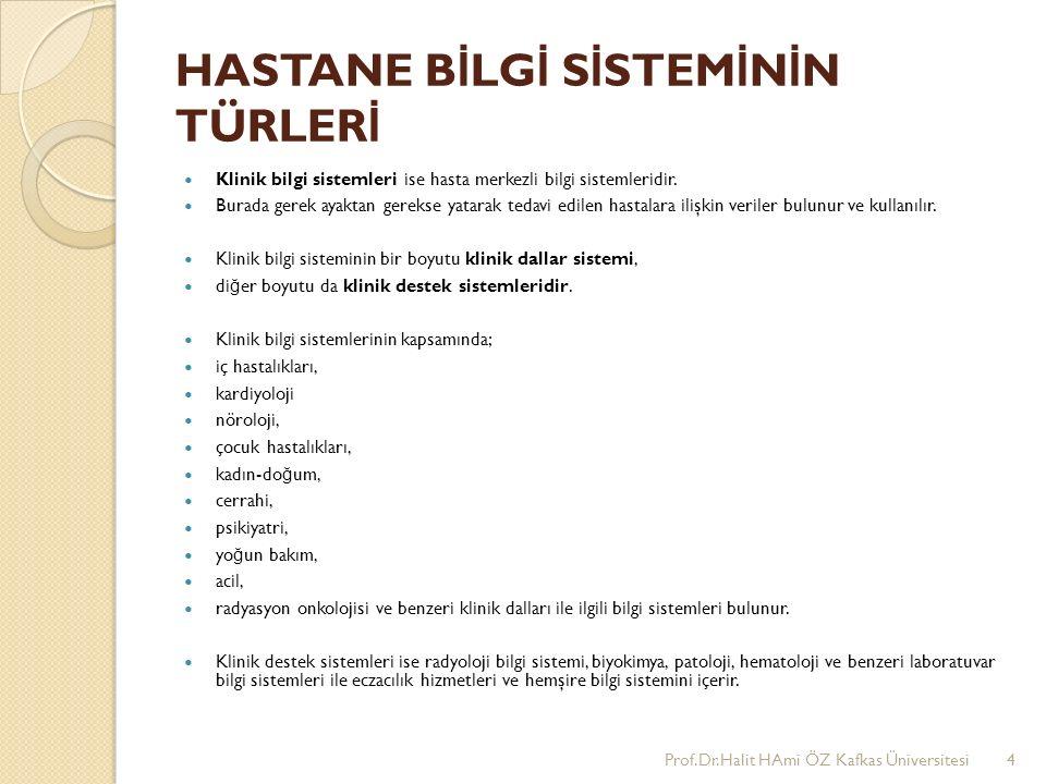 HASTANE B İ LG İ S İ STEM İ N İ N TÜRLER İ Klinik bilgi sistemleri ise hasta merkezli bilgi sistemleridir.