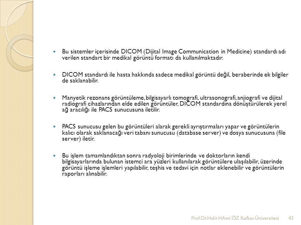 Bu sistemler içerisinde DICOM (Dijital Image Communication in Medicine) standardı adı verilen standart bir medikal görüntü formatı da kullanılmaktadır.