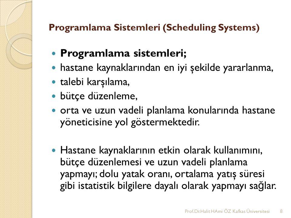 Programlama Sistemleri (Scheduling Systems) Programlama sistemleri; hastane kaynaklarından en iyi şekilde yararlanma, talebi karşılama, bütçe düzenleme, orta ve uzun vadeli planlama konularında hastane yöneticisine yol göstermektedir.